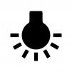 電球(点灯)の白黒シルエットイラスト素材