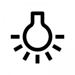 点灯している電球の白黒シルエットイラスト素材02