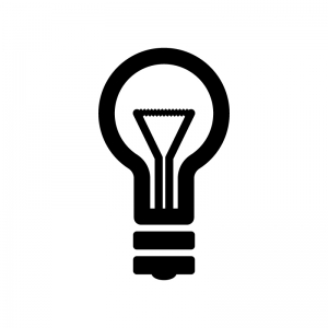 電球とフィラメントの白黒シルエットイラスト素材