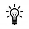 電球とフィラメントの白黒シルエットイラスト素材02