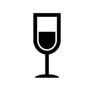 ワイングラスの白黒シルエットイラスト素材03