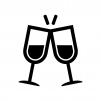 ワイングラスで乾杯の白黒シルエットイラスト素材