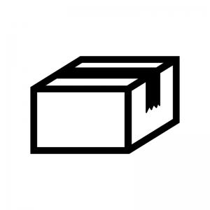 段ボールの白黒シルエットイラスト素材