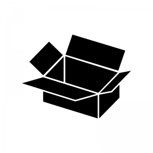 蓋が開いた段ボールの白黒シルエットイラスト素材