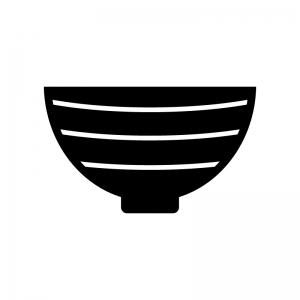 和風どんぶりの白黒シルエットイラスト素材