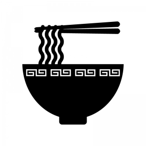 ラーメンの白黒シルエットイラスト素材