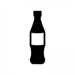 ジュースのペットボトルの白黒シルエットイラスト素材