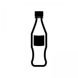 ジュースのペットボトルの白黒シルエットイラスト素材02