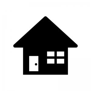 家(ホーム)の白黒シルエットイラスト素材02