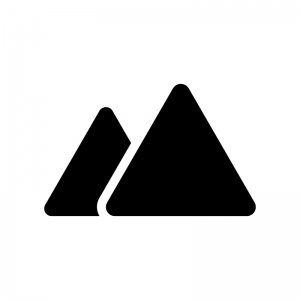 山の白黒シルエットイラスト素材