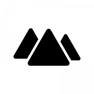 山脈の白黒シルエットイラスト素材