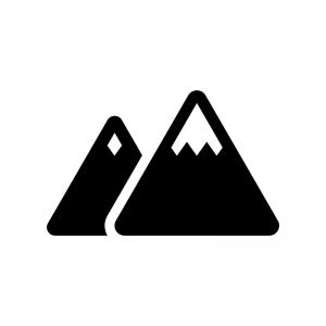 雪山の白黒シルエットイラスト素材