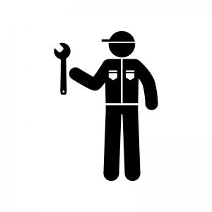 整備士の白黒シルエットイラスト素材