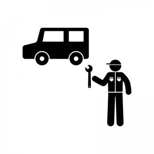車と整備士の白黒シルエットイラスト