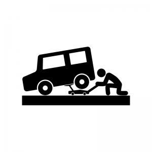 ジャッキで車を上げる人の白黒シルエットイラスト