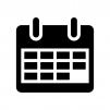 カレンダーの白黒シルエットイラスト02