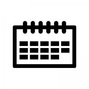卓上カレンダーの白黒シルエットイラスト