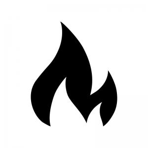 炎の白黒シルエットイラスト