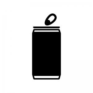 アルミ・スチール缶の白黒シルエットイラスト