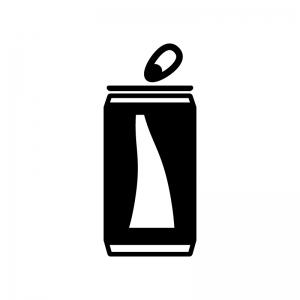 アルミ・スチール缶の白黒シルエットイラスト02