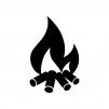 焚火の白黒シルエットイラスト