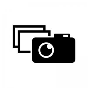 コンデジと写真の白黒シルエットイラスト