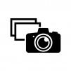 一眼レフと写真の白黒シルエットイラスト