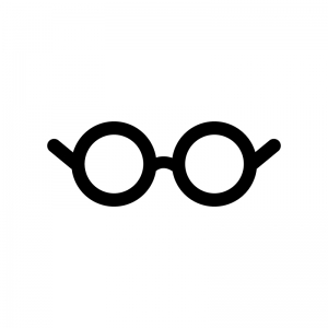 丸いメガネの白黒シルエットイラスト