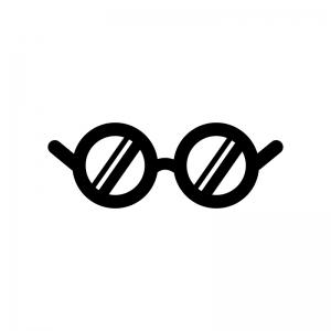 丸いメガネの白黒シルエットイラスト02