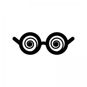 ぐるぐるメガネの白黒シルエットイラスト