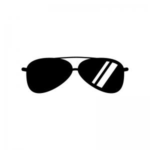 サングラスの白黒シルエットイラスト02