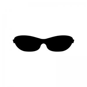 スポーツサングラスの白黒シルエットイラスト
