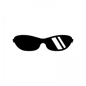 スポーツサングラスの白黒シルエットイラスト02