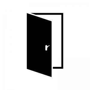 開いたドア・扉の白黒シルエットイラスト02