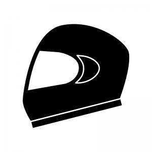 ヘルメットの白黒シルエットイラスト