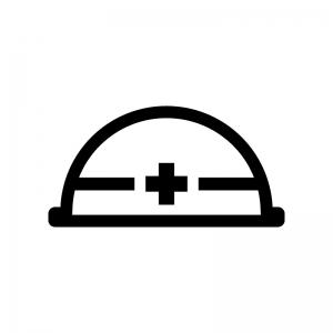 工事用ヘルメットの白黒シルエットイラスト