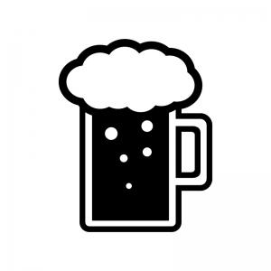 ジョッキビールの白黒シルエットイラスト