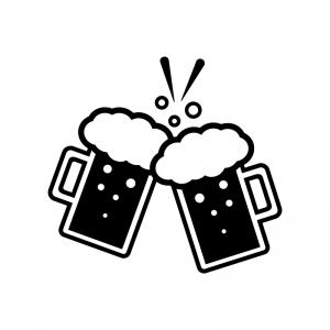 ジョッキビールで乾杯の白黒シルエットイラスト
