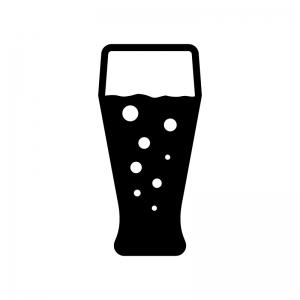 グラスビールの白黒シルエットイラスト