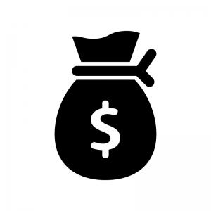 ドル袋の白黒シルエットイラスト