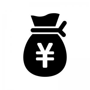 お金の袋の白黒シルエットイラスト