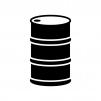 ドラム缶の白黒シルエットイラスト