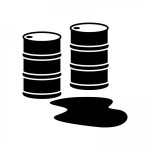ドラム缶とオイルの白黒シルエットイラスト