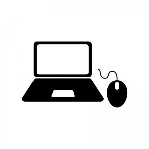ノートパソコンとマウスの白黒シルエットイラスト
