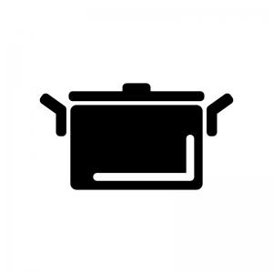 大きな鍋の白黒シルエットイラスト