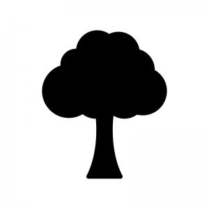 一本の木の白黒シルエットイラスト02