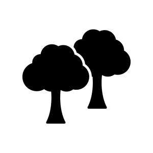 二本の木の白黒シルエットイラスト