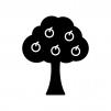果物が実った木の白黒シルエットイラスト