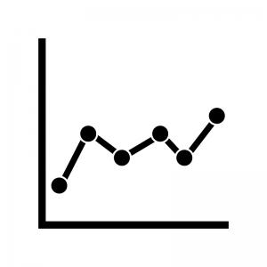 折れ線グラフの白黒シルエットイラスト02