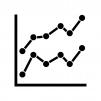 二つの折れ線グラフの白黒シルエットイラスト